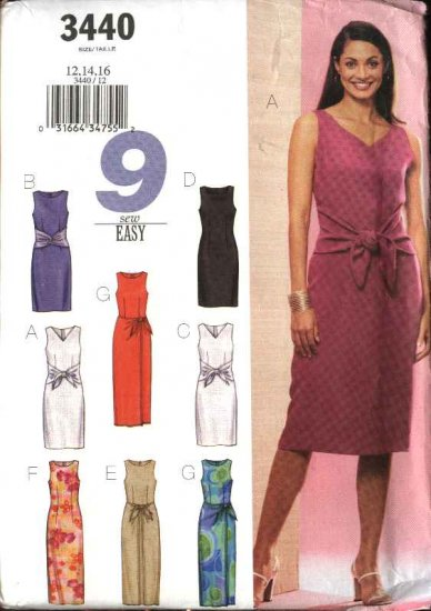 Butterick Sewing Pattern 3440 Misses Size 6-8-10 Summer Sleeveless Straight Short Long Dresses