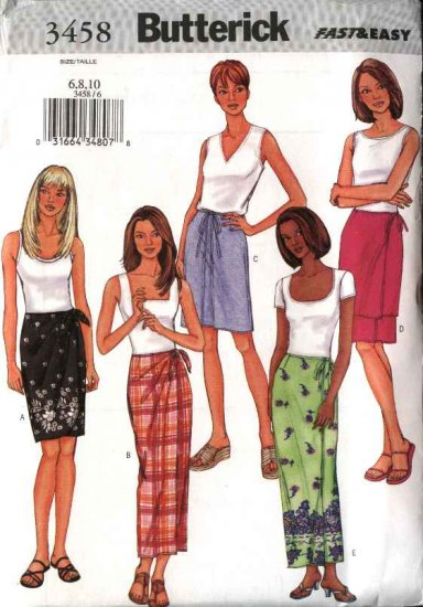 Butterick Sewing Pattern 3458 Misses Size 6-10 Easy Long Short Front Wrap Skirts Sarong
