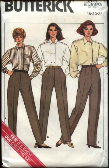 Butterick Sewing Pattern 3474 Misses Size 18-22 Easy Height Proportional Pants Slacks Trousers