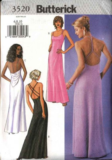 Butterick Sewing Pattern 3520 Misses Size 6-10 Easy Formal Evening Prom Long Halter Gown Dress