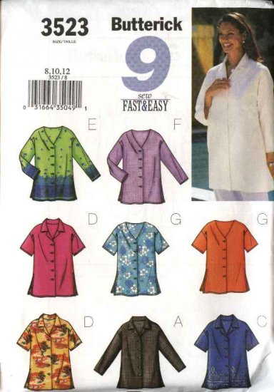 Butterick Sewing Pattern 3523 Misses Size 8-12 Easy Button Front Top Blouse Shirt Sleeve Variations