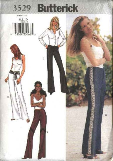 Butterick Sewing Pattern 3529 B3529 Misses Size 6-10 Easy Low Rise Flared Leg Pants