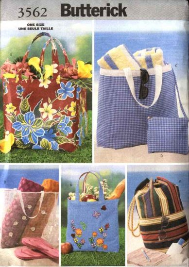 Butterick Sewing Pattern 3562 B3562 Six Beach Tote Cosmetic Bags