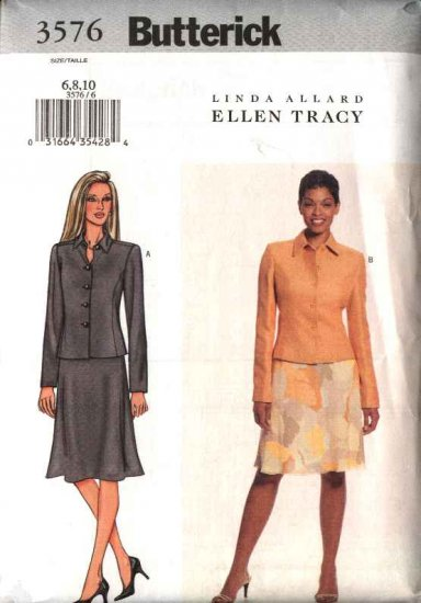 Butterick Sewing Pattern 3576 Misses Size 12-16 Easy Button Front Long Sleeve Jacket Flared Skirt