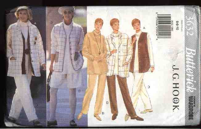 Butterick Sewing Pattern 3632 Misses Size 6-10 Easy Wardrobe Jacket Vest Top Pants Shorts
