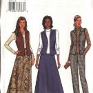 Butterick Sewing Pattern 3653 Misses Size 6-8-10 Easy Button Front Vest Flared Skirt Pants