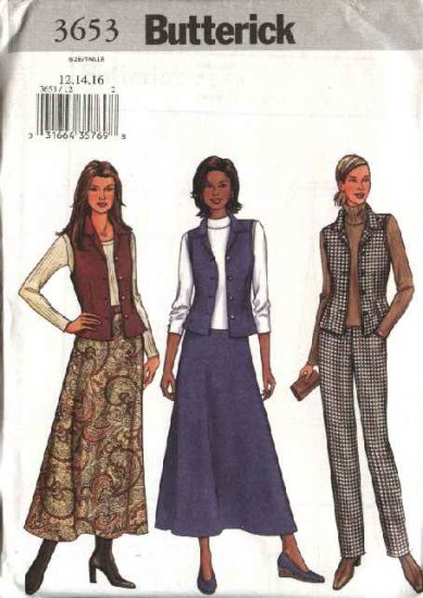 Butterick Sewing Pattern 3653 Misses Size 12-14-16 Easy Button Front Vest Flared Skirt Pants