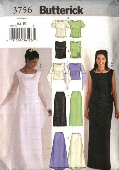 Butterick Sewing Pattern 3756 Misses Size 12-16 Easy Wedding Gown Formal 2-Piece Dress Top Skirt