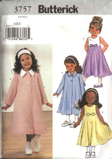 Butterick Sewing Pattern 3757 B3757 Girls Size 1-3 Easy Swing Coat Sleeveless Empire Waist Dress