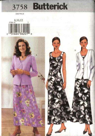 Butterick Sewing Pattern 3758 Misses Size 8-10-12 Easy Button Front Jacket Long Sleeveless Dress