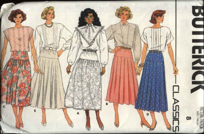 Butterick Sewing Pattern 3774 Misses Size 12 Classics Yoked Pleated Gathered Flared Skirts