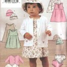Butterick Sewing Pattern 3782 Baby Girls 13-29 lbs.  Easy Dress Jumper Panties Hat Knit Jacket