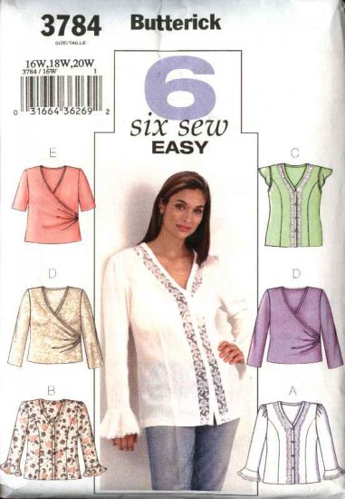 Butterick Sewing Pattern 3784 Womans Plus Size 16W-20W Easy Button Front Blouse Knit Wrap Front Top