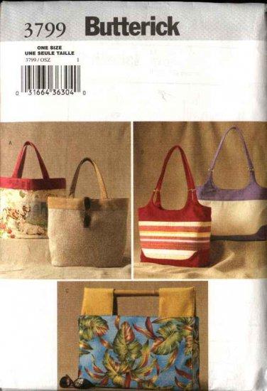 Butterick Sewing Pattern 3799 Three Lined Handbags Purse Pocketbook Tote Bag