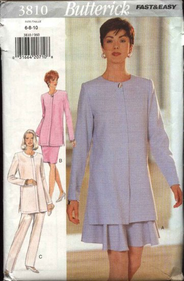 Butterick Sewing Pattern 3810 Misses Size 6-8-10 Easy Tunic Jacket Straight Flared Skirt Pants