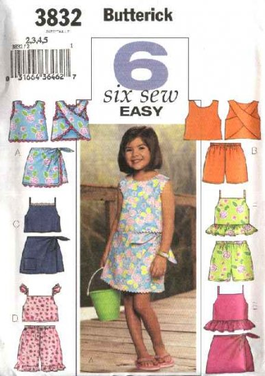 Butterick Sewing Pattern 3832 Girls Size 2-5 Easy Summer Sleeveless Tops Skorts Shorts Suntops