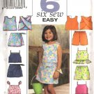 Butterick Sewing Pattern 3832 Girls Size 6-7-8 Easy Summer Sleeveless Tops Skorts Shorts Suntops