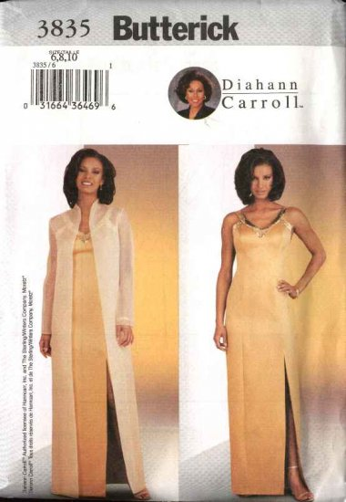 Butterick Sewing Pattern 3835 B3835 Misses Size 6-10 Easy Diahann Carroll Formal Evening Coat Dress