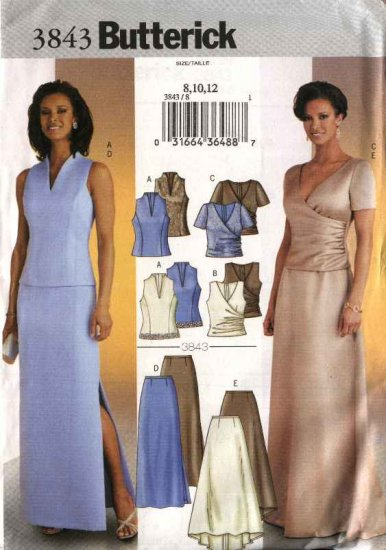 Butterick Sewing Pattern 3843 Misses Size 20-24 Easy Evening Formal 2-Piece Dress Gown Skirt Top