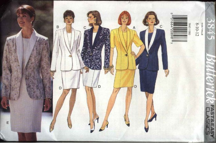 Butterick Sewing Pattern 3845 Misses Size 20-24 Easy Classic Jacket Straight Dress Suit