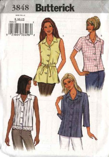 Butterick Sewing Pattern 3848 Misses Size 20-22-24 Easy Button Front Shirt Blouse Top Belt
