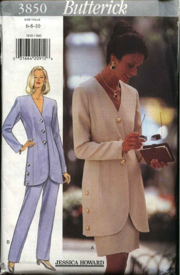 Butterick Sewing Pattern 3850 Misses Size 6-10 Easy Jessica Howard Button Front Jacket Skirt Pants