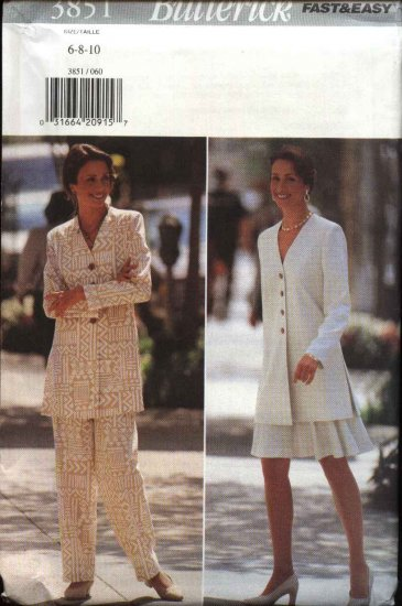 Butterick Sewing Pattern 3851 Misses Size 6-8-10 Easy Long Sleeve Tunic jacket Flared Skirt Pants