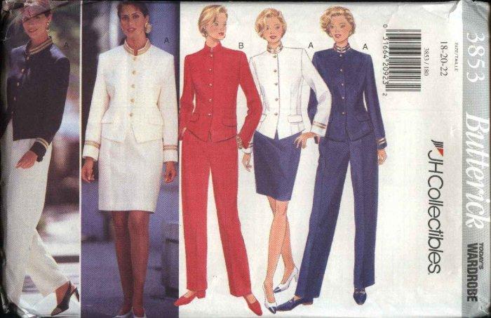 Butterick Sewing Pattern 3853 B3853 Misses Size 6-10 Wardrobe Lined Jacket Straight Skirt Pants