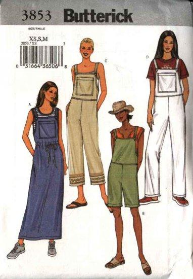 Butterick Sewing Pattern 3853 Misses Size 16-22 Easy Jumper Long Short Overalls Romper