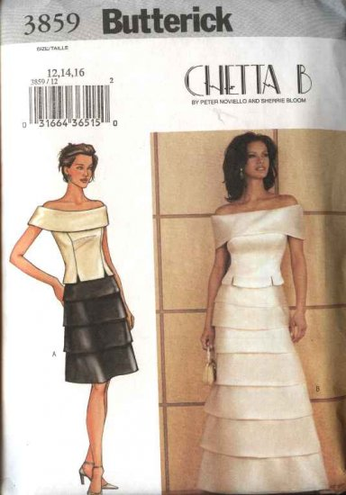 Butterick Sewing Pattern 3859 Misses Size 6-10 Formal Evening Prom 2-Piece Dress Top Skirts