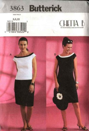 Butterick Sewing Pattern 3863 Misses Size 18-20-22 Chetta B Lined Fitted Top Straight Skirt Dress