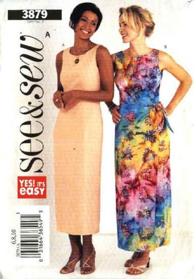 Butterick Sewing Pattern 3879 Misses Size 6-8-10 Easy Long Straight Mock Wrap Sleeveless Dress