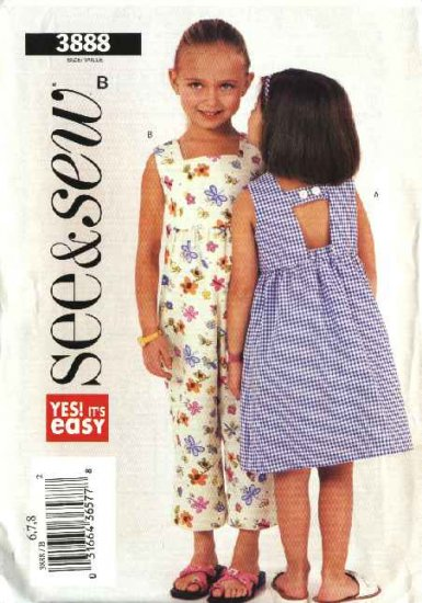 Butterick Sewing Pattern 3888 Girls Size 6-7-8 Easy Summer Sleeveless Dress Romper Sundress