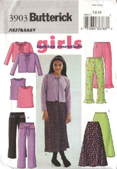Butterick Sewing Pattern 3903 Girls Size 7-8-10 Easy Wardrobe  Skirt Pants Knit Top Cardigan