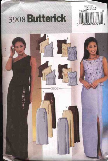 Butterick Sewing Pattern 3908 Misses Size 12-14-16 Easy Formal Evening Prom 2-Piece Dress Top Skirt