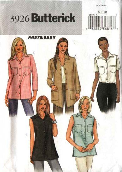 Butterick Sewing Pattern 3926 Misses Size 6-8-10 Easy Classic Button Front Tops Shirts Blouse