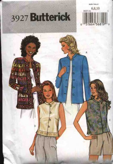 Butterick Sewing Pattern 3927 Misses Size 6-8-10 Easy LinedButton Front Jacket Vest