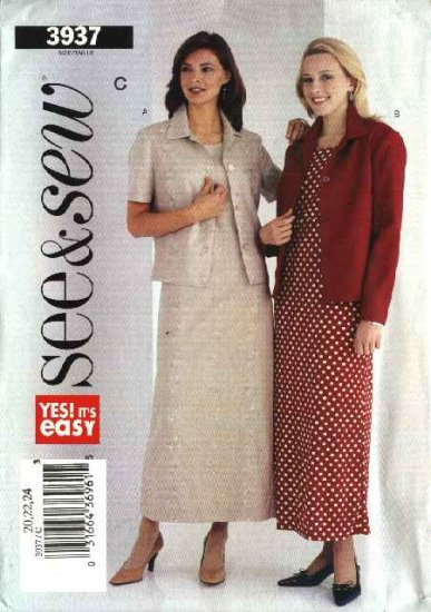 Butterick Sewing Pattern 3937 Misses Size 20-24 Easy Button Front Jacket Raised Waist Straight Dress