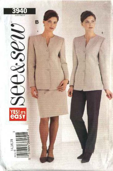Butterick Sewing Pattern 3940 Misses Size 14-16-18 Easy Jacket Skirt Pants Suit Pantsuit