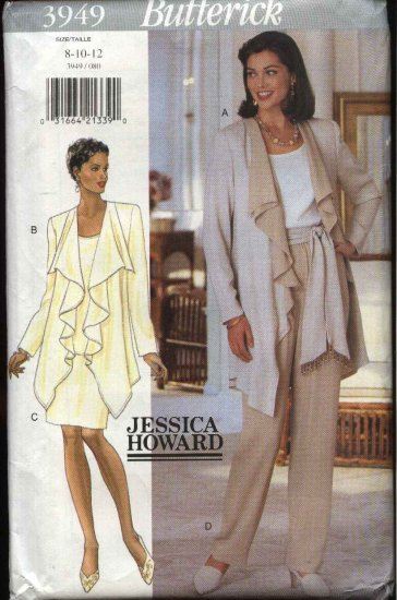 Butterick Sewing Pattern 3949 Misses Size 8-12 Easy Wardrobe Jacket Top Skirt Pants Sash