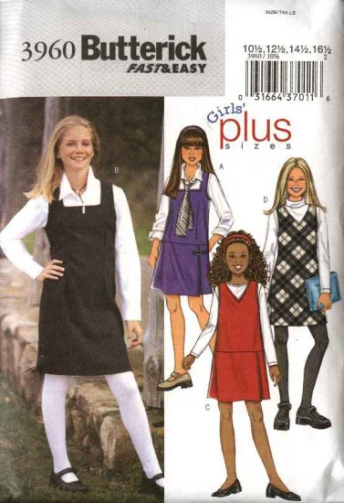 Butterick Sewing Pattern 3960 Girls Size 7-14 Easy  Jumper Variations