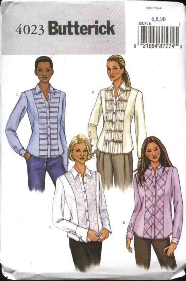 Butterick Sewing Pattern 4023 Misses Size 6-8-10 Button Front Decorated Band Shirts Blouse