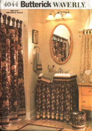 Butterick Sewing Pattern 4044 Waverly® Bathroom Accessories Tabbed Shower Window Curtains