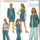 Butterick Sewing Pattern 4079 Misses Size 8-12 Easy Wardrobe Exercise Jacket Tops Pants Shorts