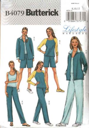 Butterick Sewing Pattern 4079 Misses Size 14-18 Easy Wardrobe Exercise Jacket Tops Pants Shorts