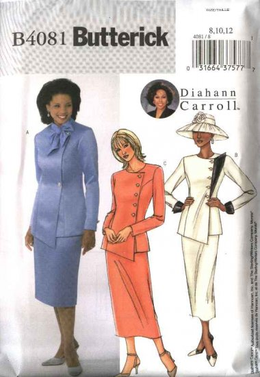Butterick Sewing Pattern 4081 Misses Size 14-16-18 Side Buttoned Jacket Straight Short Long Skirt