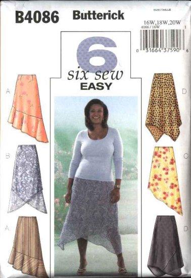 Butterick Sewing Pattern 4086 Womens Plus Size 16W-20W Easy Pull-on Asymmetrical Hemline Skirt