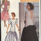 Retro Butterick Sewing Pattern 4090 Misses Size 12-16 Formal Dropped Waist Short Dress