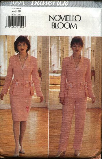 Butterick Sewing Pattern 4094 Misses  12-14-16 Lined Long Sleeve Jacket Straight Skirt Pants