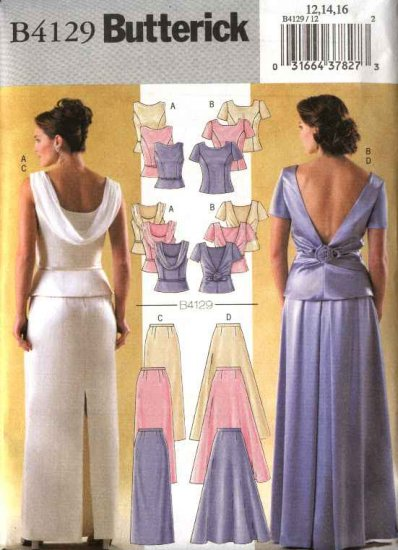 butterick sewing pattern 4129 misses size 1822 formal